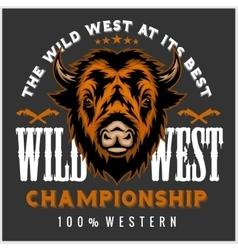Wild west rodeo - bison head vintage vector image