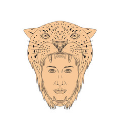 female aztec warrior jaguar headdress drawing vector image vector image