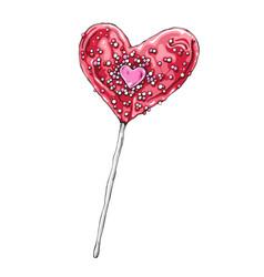heart shaped lollipop hand vector image
