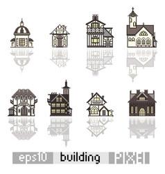 set of pixel art isometric building vector image vector image