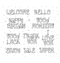 Welcome thank you hello happy birthday enjoy vector image