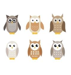 Cute cartoon owl set Owls in shades of gray vector image vector image
