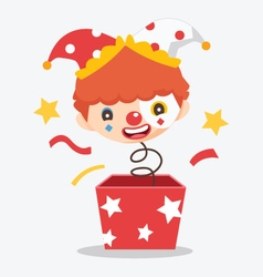 cute clown with box vector image