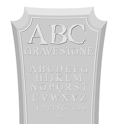 Gravestone ABC font for tombstone Alphabet for RIP vector image vector image