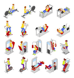 isometric people at the gym sportsmen workout vector image vector image