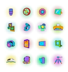 Photography set icons pop-art style vector