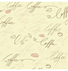 seamless background with coffee inscription vector image vector image