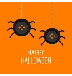 Two cute hanging button spiders on web Happy vector image