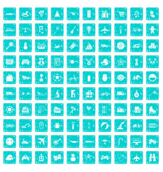 100 toys for kids icons set grunge blue vector image