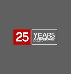 25 years anniversary in square with white and red vector