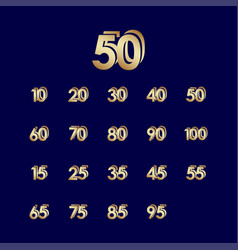50 years anniversary celebration blue gold vector
