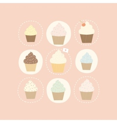 9 different cute cupcakes vector image