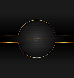 Abstract black circle with gold border frame on vector