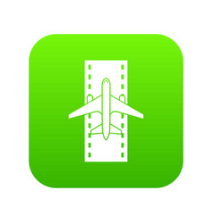 airplane on the runway icon digital green vector image
