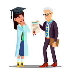 asian young girl student doctor receiving a vector image