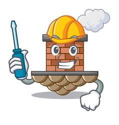 Automotive brick chimney next the cartoon roof vector