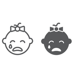Baby girl cry line and glyph icon emotion child vector