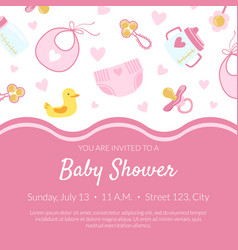 Bashower invitation banner template pink card vector