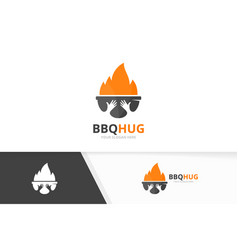 bbq and hands logo combination grill and vector image