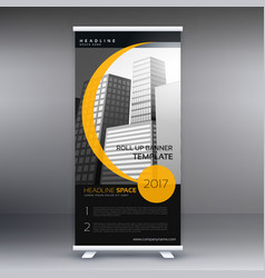 black and yellow roll up banner for your compnay vector image