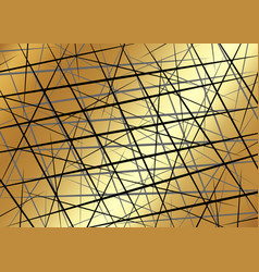Black chaotic lines random chaotic lines gold vector