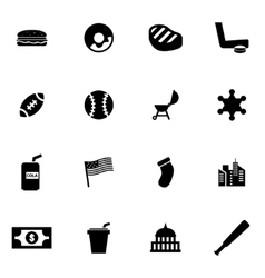 Black usa icon set vector