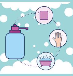 bottle liquid soap towel hand and bathtub bathroom vector image