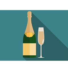 Bottle of champagne with a glass in a flat style vector image