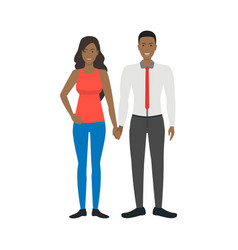 cartoon characters people african american couple vector image