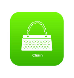 Chain bag icon green vector