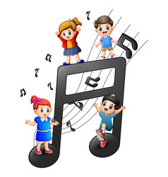 children playing together with notes vector image