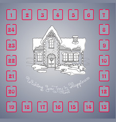 Christmas advent calendar with house and vector
