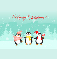 christmas funny penguins on vector image