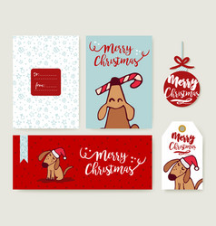 Christmas holiday greeting card dog cartoon set vector