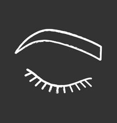 Closed woman eye chalk icon vector