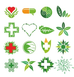 Collection of logos of medicine and pharmac vector