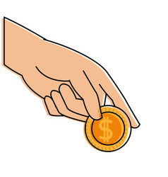 Color hand with metal coin cash money vector