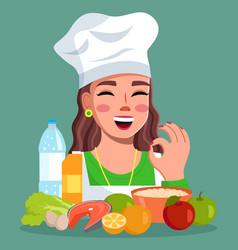 Cook woman showing okay gesture smiling female vector