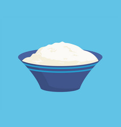 Cottage cheese in bowl icon vector