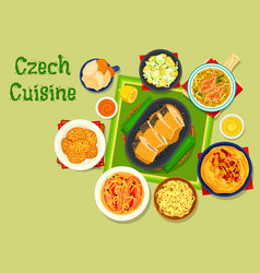 czech cuisine traditional dishes icon design vector image