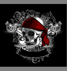 Decorative art background with skull high vector