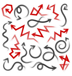 Dry brush line arrows vector