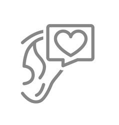 Ear with heart in speech bubble line icon healthy vector