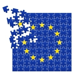 European union flag divided on jigsaw puzzle vector