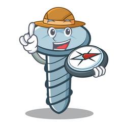 Explorer screw character cartoon style vector