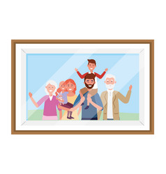 family avatar cartoon character photo frame vector image