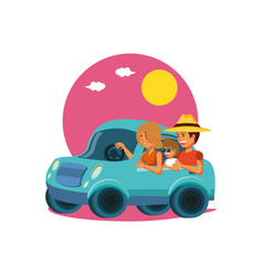 family driving tourism little car vector image