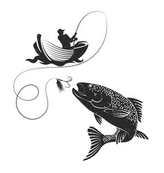 Fisherman catches salmon vector