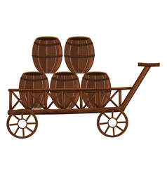 five barrels on wooden wagon vector image