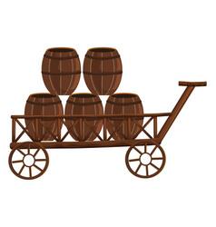 Five barrels on wooden wagon vector